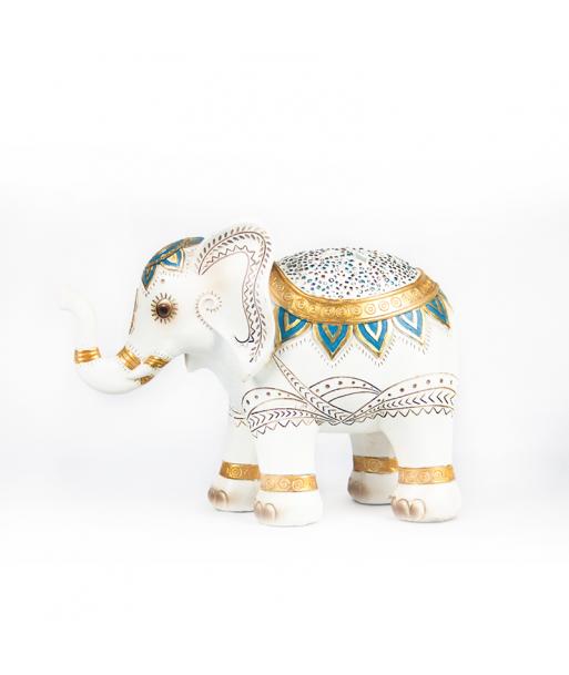 Elefante de la suerte blanco y dorado