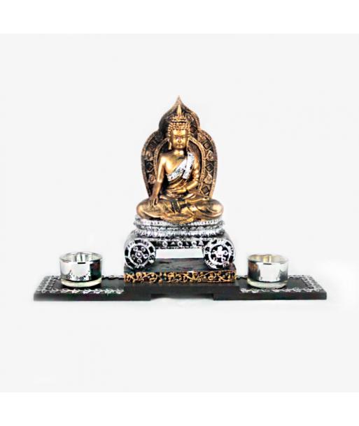 Portavelas de Buda entronizado