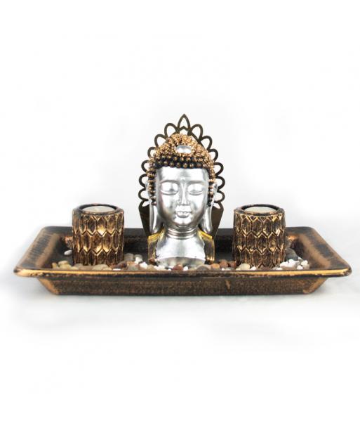 Portavelas busto de Buda